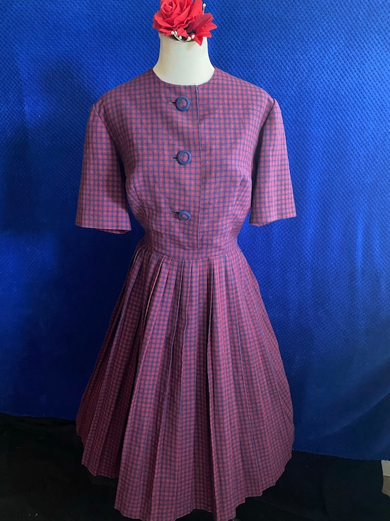 1950s red and blue checkered dress in light weight