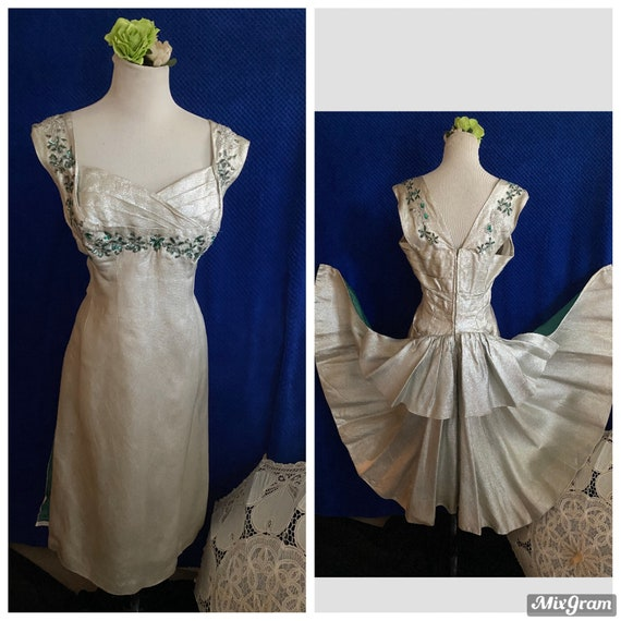 1950s vintage evening dress with bustle WOW and je