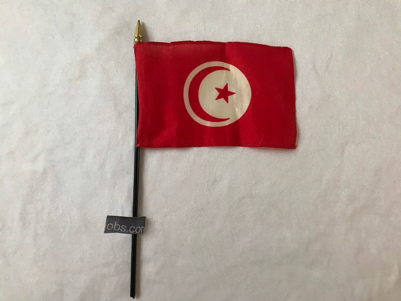 Vintage Tunisian  Flag Part of an Old United Nations Set of Flags 27cm  16cm