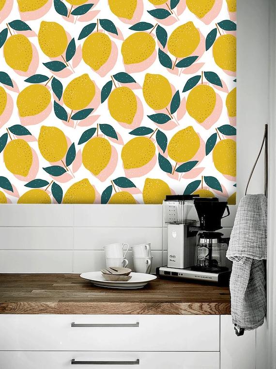 Lemon Wallpaper Peel And Stick Wallpaper Self Adhesive Etsy