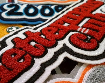 Custom chenille letterman patches, Cheap chenille patches, letterman patches, versity patches, Free shipping