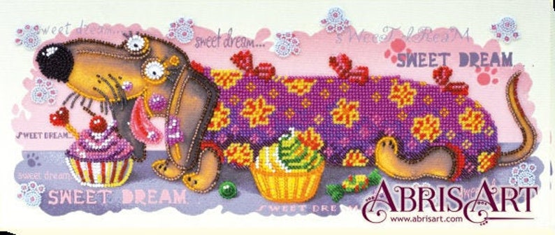 14.1\u00d76.0 GIFT DIY Bead Embroidery Kit on art canvas dog Sweetheart Size: 360x150mm