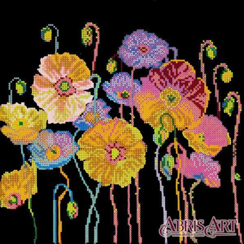 DIY Bead Embroidery Kit on art canvas   flowers Size:480x300 mm GIFT 18.9\u00d711,8