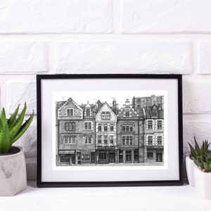 Glasgow University Print \u2022 Handdrawn architectural pen and ink drawing made and locally printed in Scotland \u2022 Wall Art \u2022 Letterbox Gift