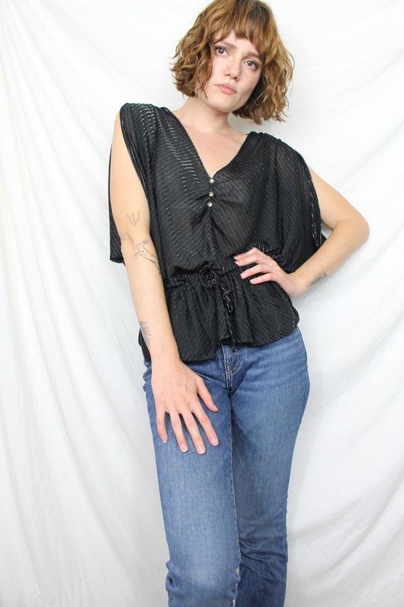 Black 80s Vintage Sheer Batwing Cold Shoulder Top