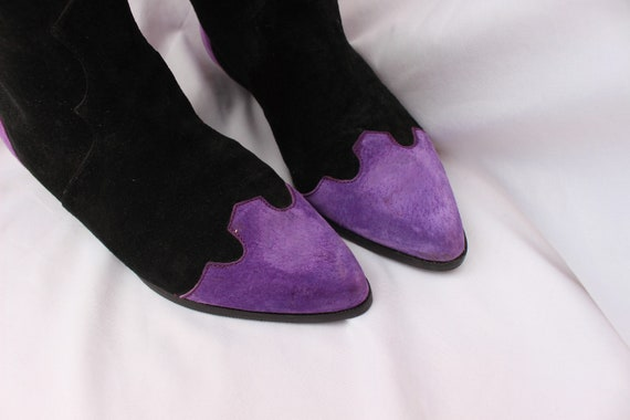 Black, Pink, And Purple 80s Vintage Suede Slouchy… - image 3