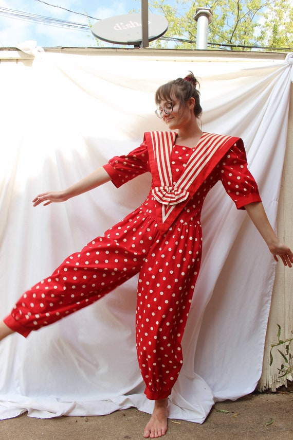 Red Polka Dot and Striped 80s Vintage Jumpsuit