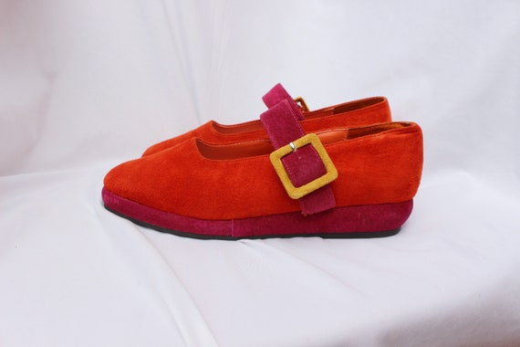Orange and Pink Suede Vintage Mary Janes