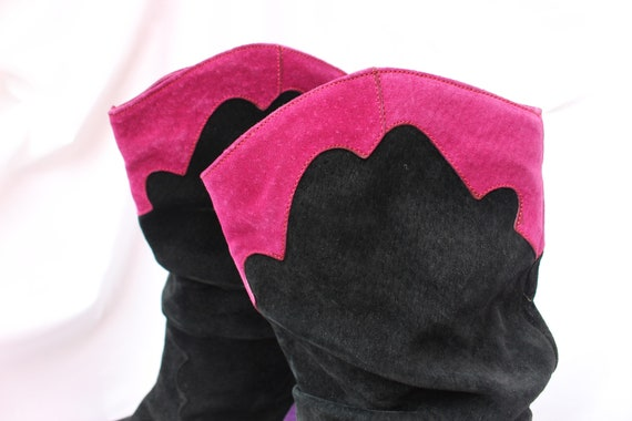Black, Pink, And Purple 80s Vintage Suede Slouchy… - image 5