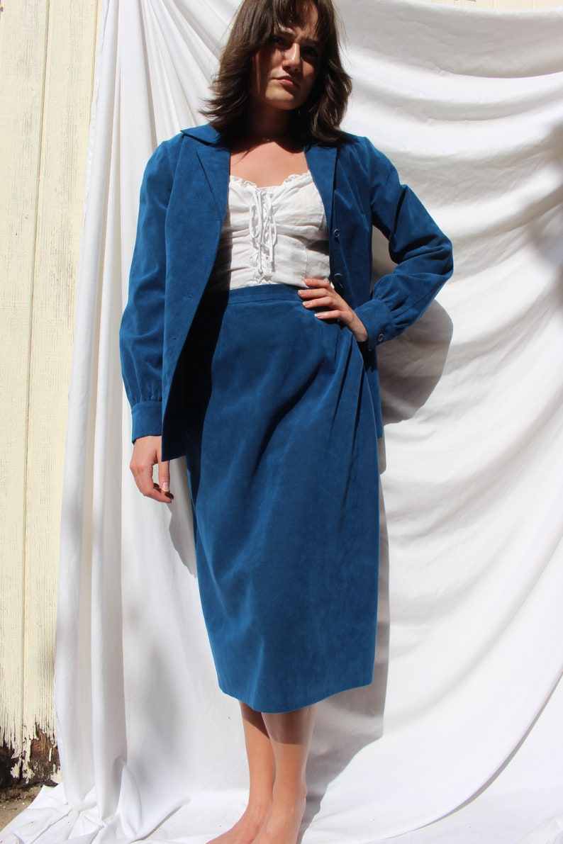 Vintage Blue Ultrasuede Skirt Suit