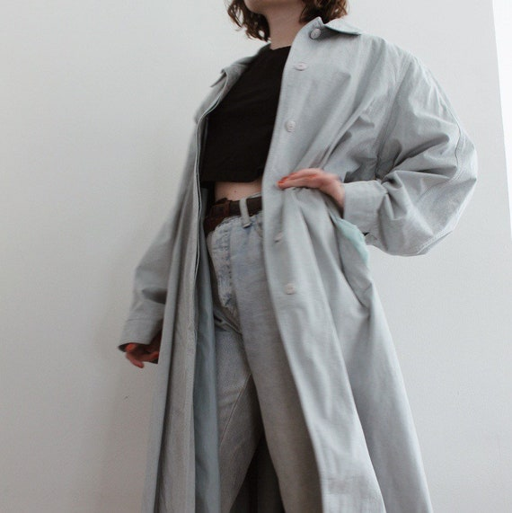 Faux Suede Light Blue Trench