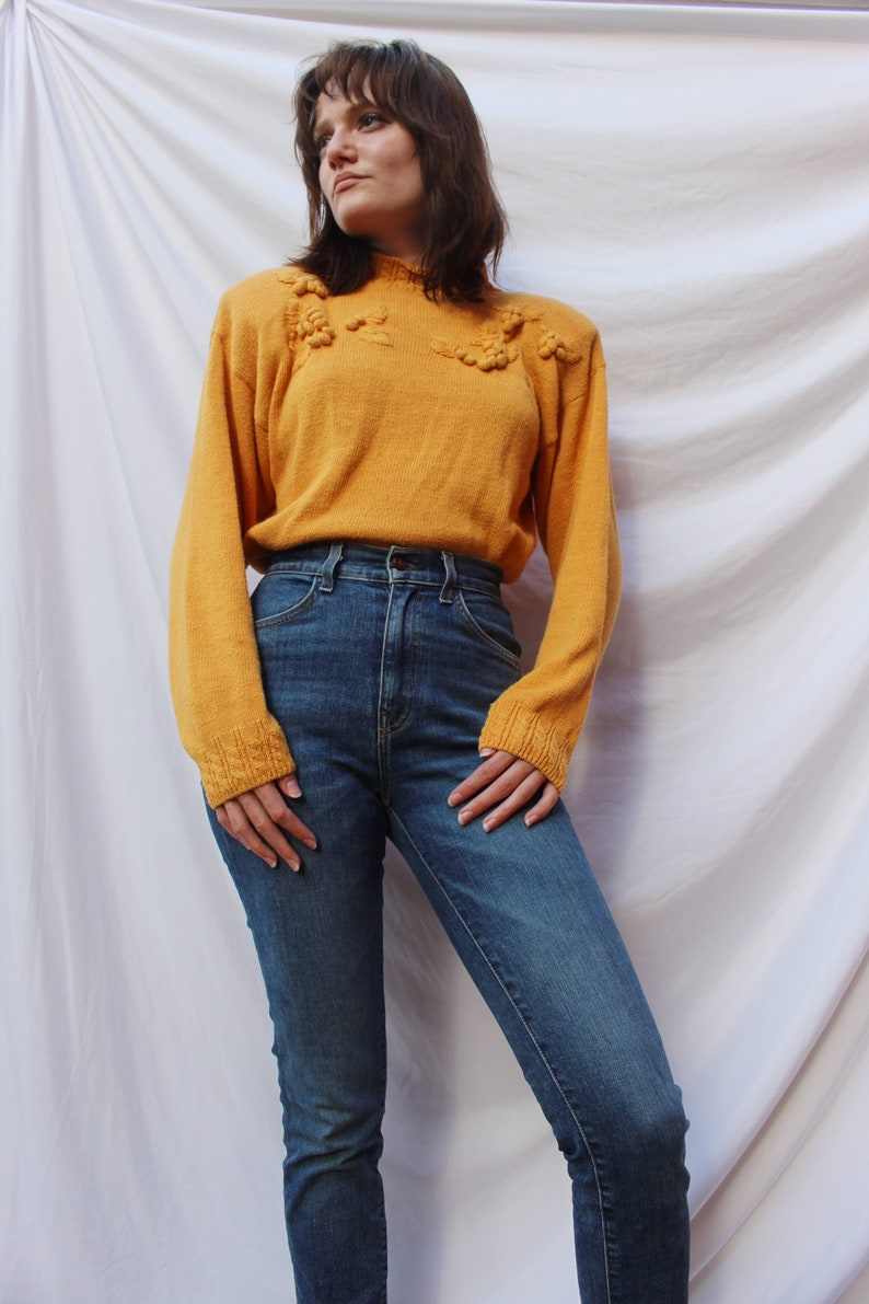 Yellow 80s Vintage Pullover Sweater