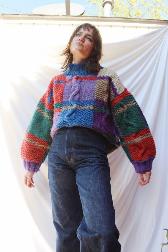 Chunky Wool Patchwork Cable Knit Sweater