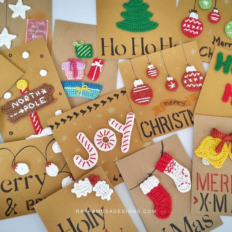 Crochet Pattern  Christmas Appliques  Small Embellishment image 1