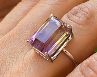 Ametrine Ring 925 Sterling Silver Purple 10.44 Grams Size 7