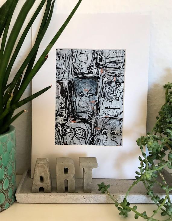 "black & white illustrative art ""weird faces 004"" with orange details | handpainted in passepartout"