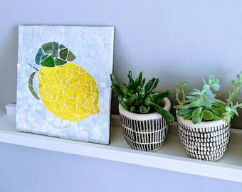 Lemon Mosaic Kit - DIY Craft Kit for Adults and Children - Citrus Fruit - Yellow Lemon - Kitchen Art - Home Décor - Housewarming Gift