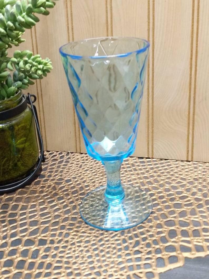 mid century glass Vintage aquamarine diamond optic style pedestal glass