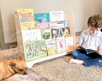 Large Montessori Bookshelf – Toddler Bookcase - Montessori Wooden Furniture – Nursery Gift – Wooden Bookshelf - Extra Book Storage in Back