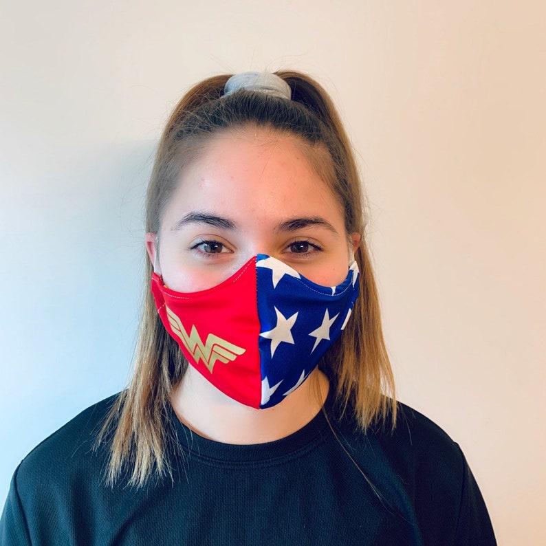 Adult Reusable Face Mask  Superhero Woman  USA-Made image 0
