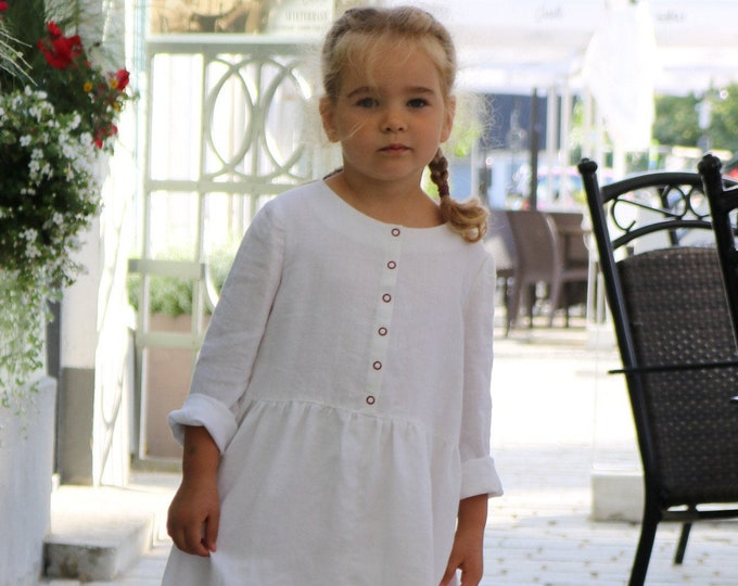 White up-cycled linen dress for girls