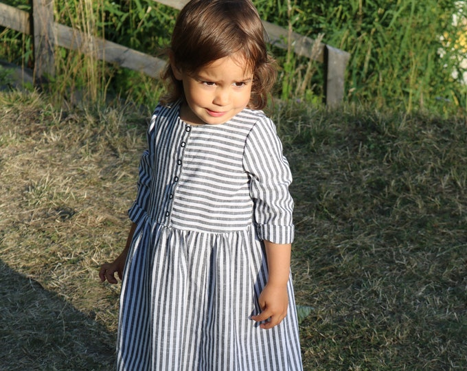 Up-cycled white cotton dress with grey stripes for kids
