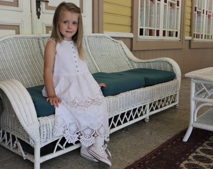 Up-cycled soft white cotton dress for kids