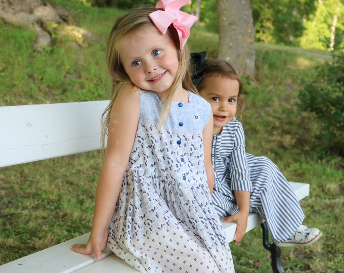 Up-cycled soft cotton dress with a blue pattern for girls
