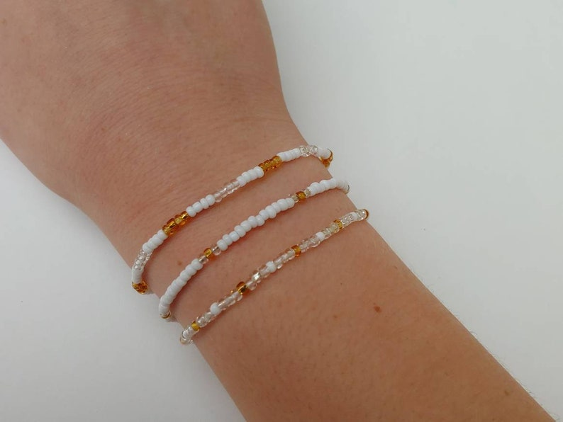 White beaded jewelry stretch cord bracelets teen jewelry and Gold seed bead bracelets set of 3 patterned stretchy bracelets Clear