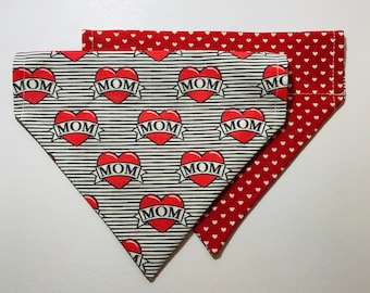 Love and Hearts Dog Bandana Reversible and Over the Collar