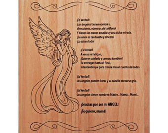 """Madre Gifts - Spanish Mom Gift - Regalo Para Madre for Mothers Day - Poema sentimental para mamá 7x9"""" - Mexican Mom Gift - Madre De La Novia"""