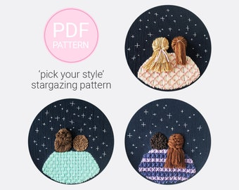 Stargazing Embroidery Pattern   Hair Embroidery   Best Friends Embroidery   Love Embroidery   Hand Embroidery Pattern   Starry Night Art