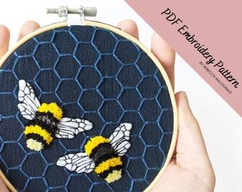 Bumblebee Embroidery Pattern   Bumblebee Embroidery   PDF Pattern   Bee Embroidery   Hand Embroidery Pattern   Honey Bee Pattern   Beginner
