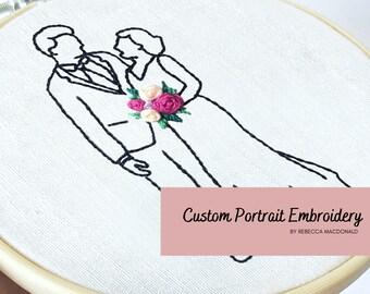 Custom Wedding Portrait   Embroidery Portrait   Custom Embroidery   Embroidery silhouette   Silhouette Portrait   Custom Line Portrait