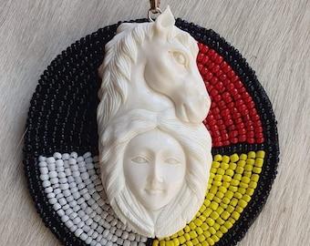 Woman shaman horse