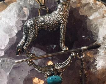 Handmade Navajo sterling silver wolf pendant