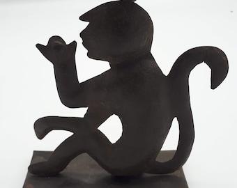 Monkey bougeoir in metal cutout