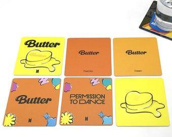 KPop Drink Coasters - BTS Butter Album Covers Set of 6 K-Pop