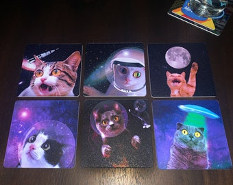 Space Cats Drink Coasters - Set of 6