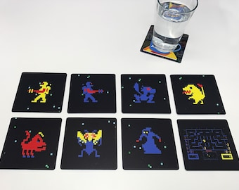 Classic Video Game Drink Coasters - Wizard of Wor Set of 8 Arcade
