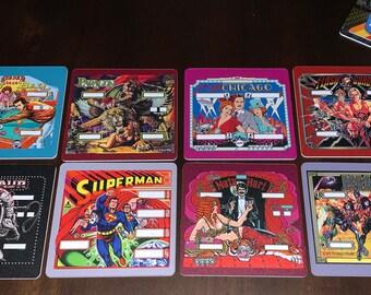 Classic Arcade Drink Coasters - Pinball Set Version 2 Set of 8 - KISS Superman Flash Gordon Paragon Centaur