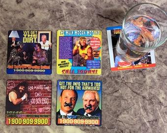 Classic Pro Wrestling Drink Coasters - Wrestling Hotlines Set of 4 - 1990s 90s Monday Night War