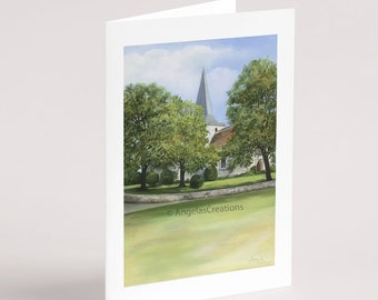 St. Andrews Church, Alfriston, Greeting Card, Sussex Scenes, Art, Landscape Painting