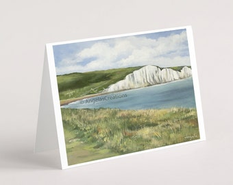Seven Sisters to the East, South Downs National Park (Sussex), Greeting Card, Sussex Scenes, Art, Landscape Painting