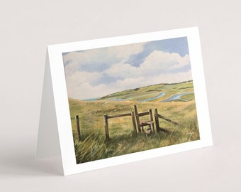 Cuckmere Valley, South Downs National Park (Sussex), Greeting Card, Sussex Scenes, Art, Landscape Painting