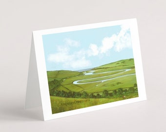 Cuckmere River, South Downs National Park (Sussex), Greeting Card, Sussex Scenes, Art, Landscape Painting