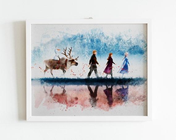 Frozen Poster Elsa Anna Kristoff Sven Olaf Frozen 2 Film Watercolor Style Print Art Digital Printable Download