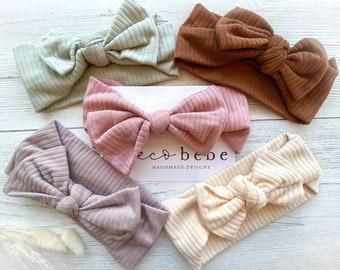Bow baby headband, new baby girl headband, baby headband gift, baby ribbed headband, cotton bow headband, new mum present, baby girl gift