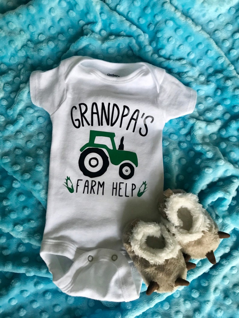 Father/'s Day Gift Daddy\u2019s Farm Help Baby Bodysuit Grandpa\u2019s Farm Help Baby Bodysuit Cuustomized Tractor onesie for Dad or Grandpa