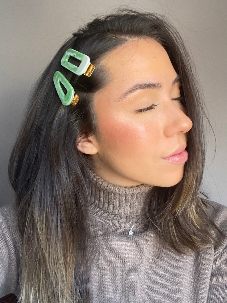 Rounded Triangle Barrette Rectangle Barrette Chunky Spring Green Barrette set of 2